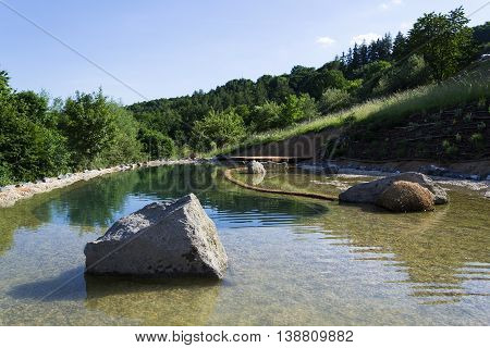 Natural Swimming Pond Purifying Water Without Chemicals Through Filters And Plants