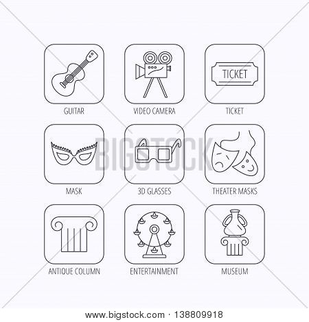 Museum, guitar music and theater masks icons. Ticket, video camera and 3d glasses linear signs. Entertainment, antique column icons. Flat linear icons in squares on white background. Vector