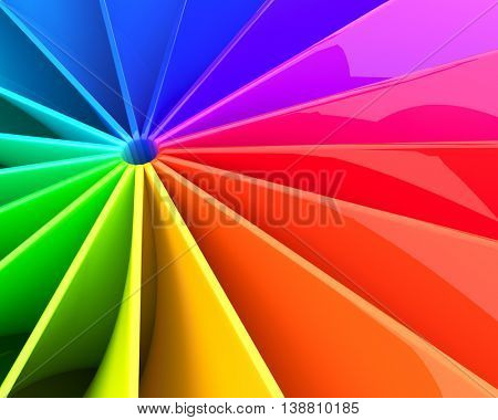 Abstract colorful 3D deformed glossy sheets background. 3D illustration.