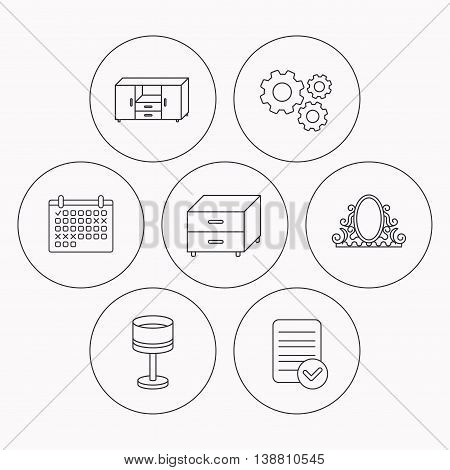 Vintage mirror, table lamp and nightstand icons. Chest of drawers linear sign. Check file, calendar and cogwheel icons. Vector