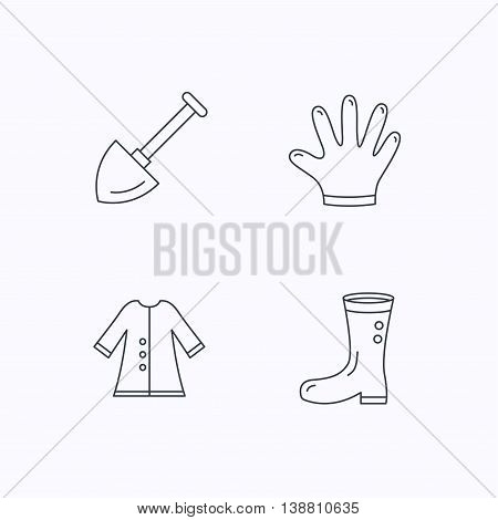 Shovel, boots and gloves icons. Cloak linear sign. Flat linear icons on white background. Vector