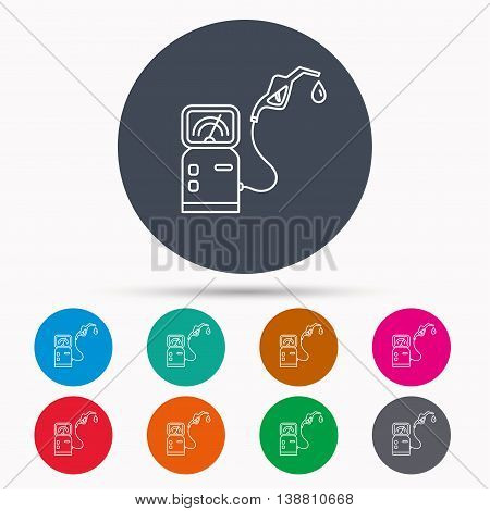 Gas station icon. Petrol fuel pump sign. Icons in colour circle buttons. Vector