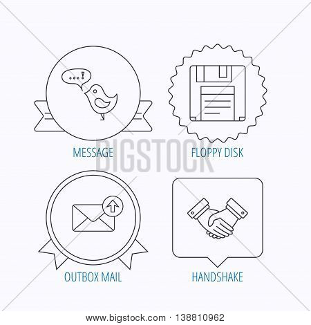 Outbox mail, message and handshake icons. Floppy disk linear sign. Award medal, star label and speech bubble designs. Vector