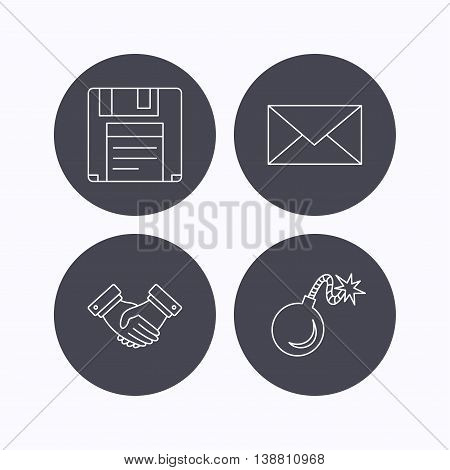 Mail, bomb and handshake icons. Floppy disk linear sign. Flat icons in circle buttons on white background. Vector