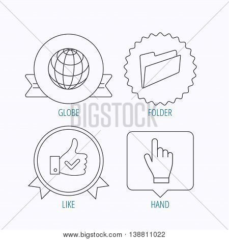 Folder, press hand and world globe icons. Social network linear sign. Award medal, star label and speech bubble designs. Vector