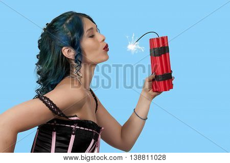 Hot Woman Holding Dynamite
