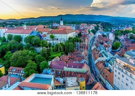 Aerial view on upper town in Zagreb, capital city of Croatia, sunset, time.