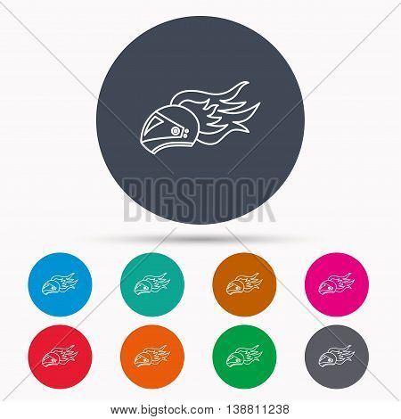 Helmet on fire icon. Motorcycle sport sign. Icons in colour circle buttons. Vector