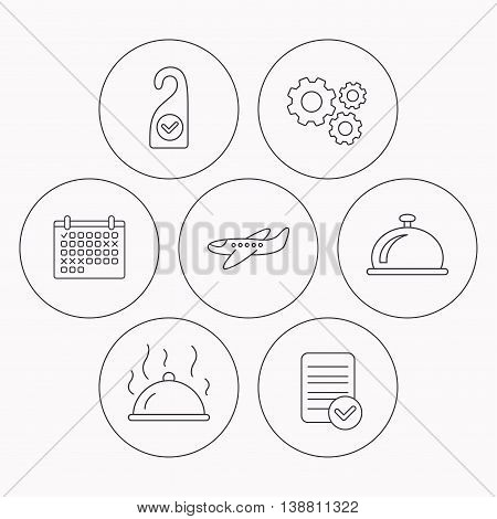 Hot food, reception bell and clean room icons. Airplane linear sign. Check file, calendar and cogwheel icons. Vector