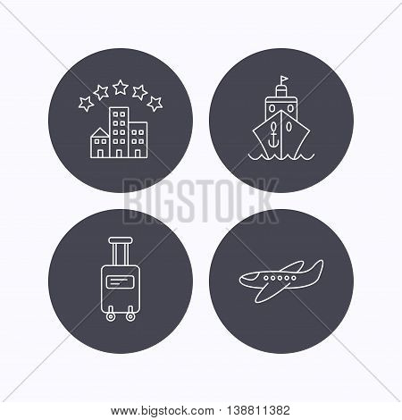 Hotel, cruise ship and airplane icons. Baggage linear sign. Flat icons in circle buttons on white background. Vector