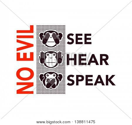 See no evil, hear no evil, speak no evil. wise monkeys. Vector illustration.