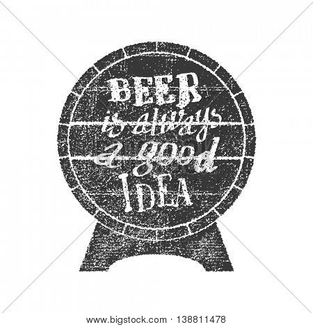 Beer is always a good idea on the canvas background. Vector illustration