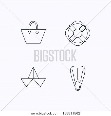 Paper boat, flippers and lifebuoy icons. Women handbag linear sign. Flat linear icons on white background. Vector