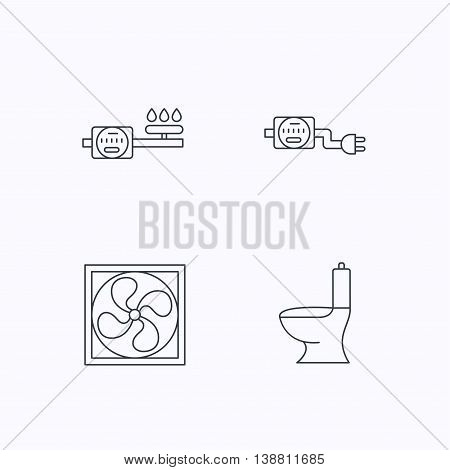 Ventilation, toilet and gas counter icons. Electricity counter linear sign. Flat linear icons on white background. Vector