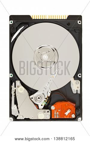 Opened Hard Disk Drive (HDD) isolated on white background with clipping path