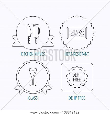 Kitchen knives, glass and heat-resistant icons. DEHP free linear sign. Award medal, star label and speech bubble designs. Vector