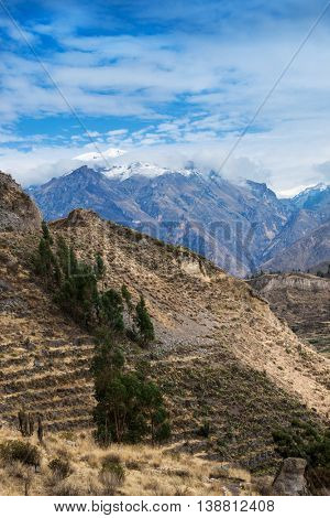 mountain peaks covered with snow in the Andes