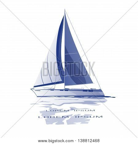 Sailing yacht vector icon blue isolated with reflection