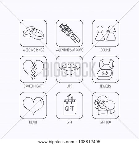 Love heart, kiss and wedding rings icons. Broken heart, couple and gift box linear signs. Valentine amour arrows flat line icons. Flat linear icons in squares on white background. Vector