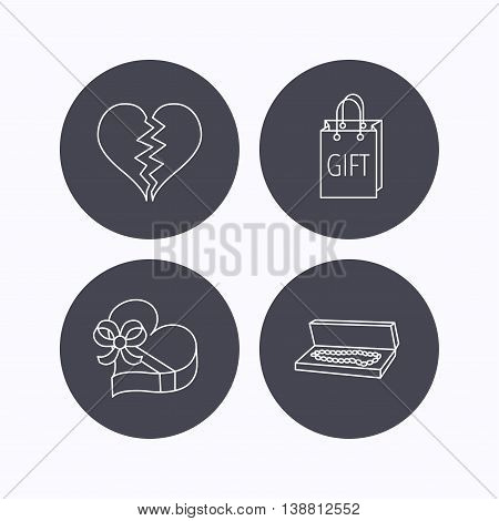 Broken heart, gift box and wedding jewelry icons. Box with jewelry linear sign. Flat icons in circle buttons on white background. Vector