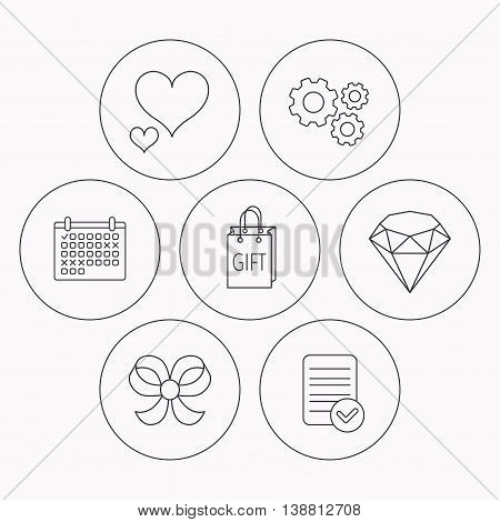 Love heart, gift bag and brilliant icons. Bow-knot linear sign. Check file, calendar and cogwheel icons. Vector