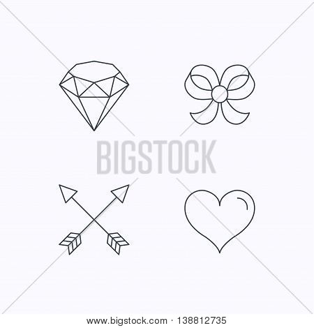 Love heart, brilliant and bow-knot icons. Arrows linear signs. Flat linear icons on white background. Vector