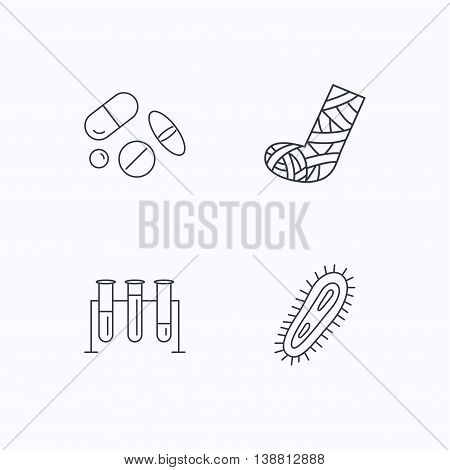 Broken foot, bacteria and medical pills icons. Lab bulbs linear sign. Flat linear icons on white background. Vector