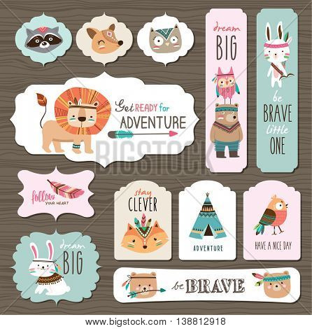 Set of creative cards templates with cute cartoon animals and quotes