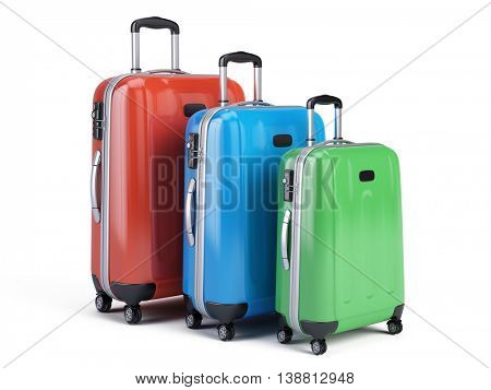3d icon of three travel luggage bags isolated on white. 3d render