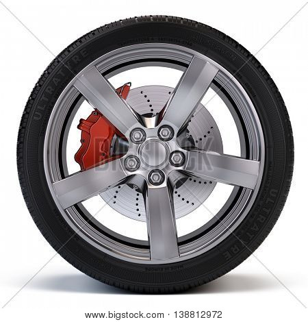 Car wheel with brake disc and caliper isolated on white. 3d illustration