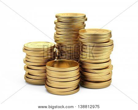 Gold coins isolated on white background. 3d illustration