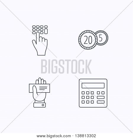 Calculator, coins and cheque icons. Enter code linear sign. Flat linear icons on white background. Vector