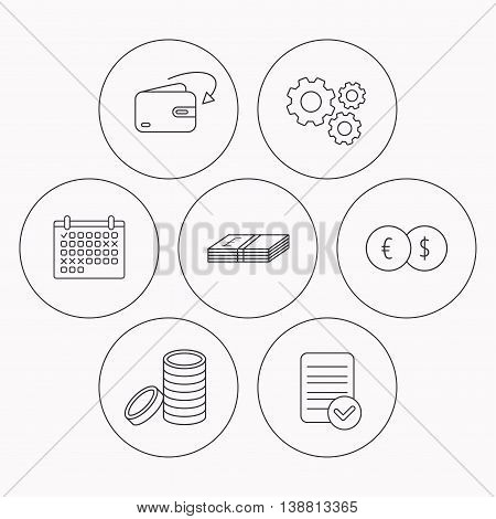 Currency exchange, cash money and coins icons. Receive money linear sign. Check file, calendar and cogwheel icons. Vector