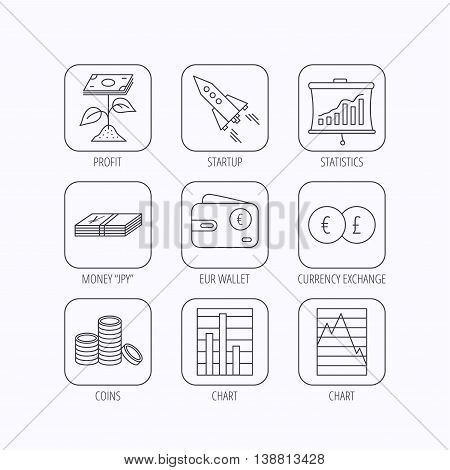 Profit investment, cash money and startup rocket icons. Wallet, currency exchange and euro linear signs. Chart, coins and statistics icons. Flat linear icons in squares on white background. Vector