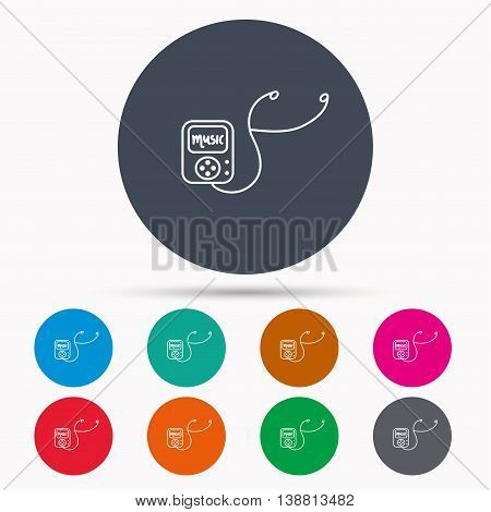 Music player icon. Songs portable device sign. Multimedia sound technology symbol. Icons in colour circle buttons. Vector