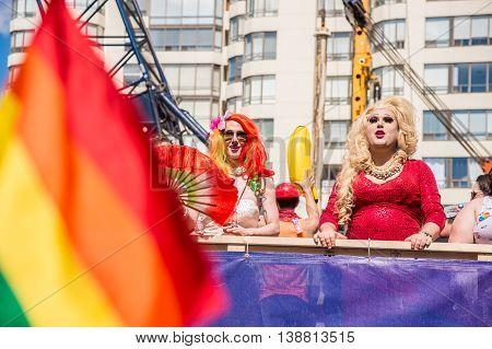 Toronto Canada - July 3 2016: Two drag queens at Toronto 2016 gay pride parade