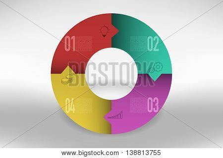 Connected four steps timeline infographics in circular shape with arrows. 4 steps modern business diagram with colorful gradients in rounded pie chart shape can be used as infographic or timeline.