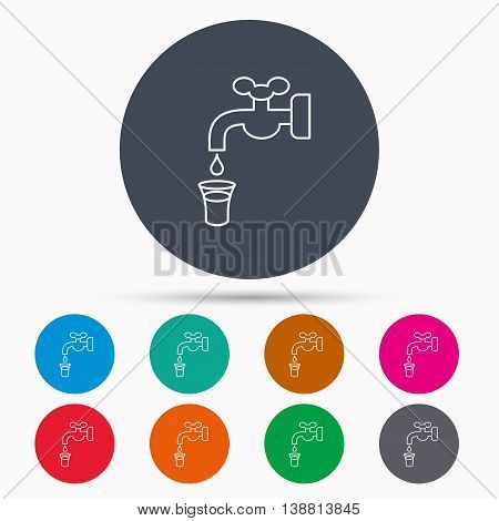 Save water icon. Crane or Faucet with drop sign. Icons in colour circle buttons. Vector