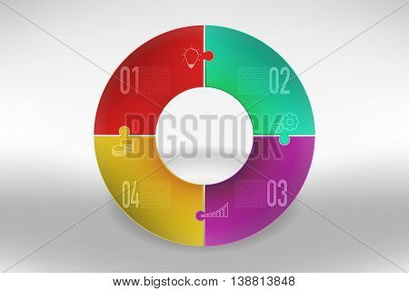 Modern colorful 4 steps timeline infographics in jigsaw shape. Four steps business infographic diagram with outline icons of bulb gear chart and coins in rounded puzzle shape with shadow.