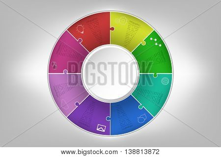 Modern colorful 8 steps timeline infographics in jigsaw shape. Eight steps business infographic diagram with outline icons in rounded puzzle shape embossed to background with inner 3D circle.