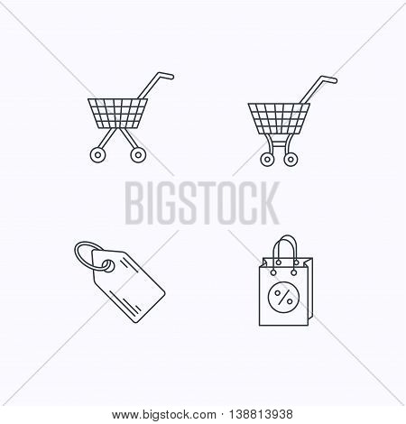 Shopping cart, discounts bag and price tag icons. Sale coupon linear sign. Flat linear icons on white background. Vector