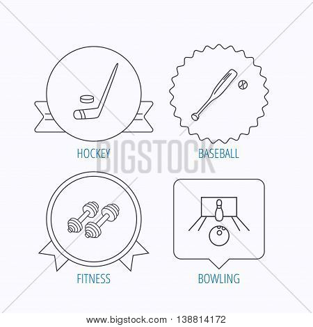 Ice hockey, bowling and baseball icons. Fitness sport linear sign. Award medal, star label and speech bubble designs. Vector