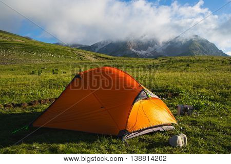 Mountain Oshten in Caucasus under blue sky