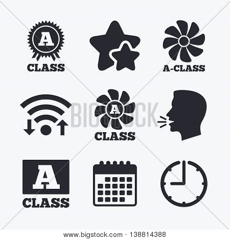 A-class award icon. A-class ventilation sign. Premium level symbols. Wifi internet, favorite stars, calendar and clock. Talking head. Vector