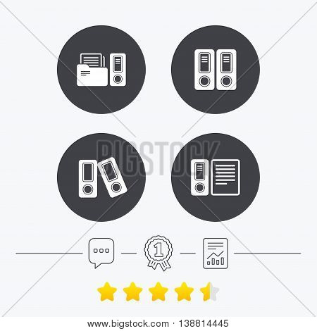 Accounting icons. Document storage in folders sign symbols. Chat, award medal and report linear icons. Star vote ranking. Vector