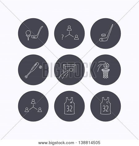 Football, ice hockey and baseball icons. Basketball, team assistant and captain linear signs. Teamwork, vacancy and golf icons. Flat icons in circle buttons on white background. Vector