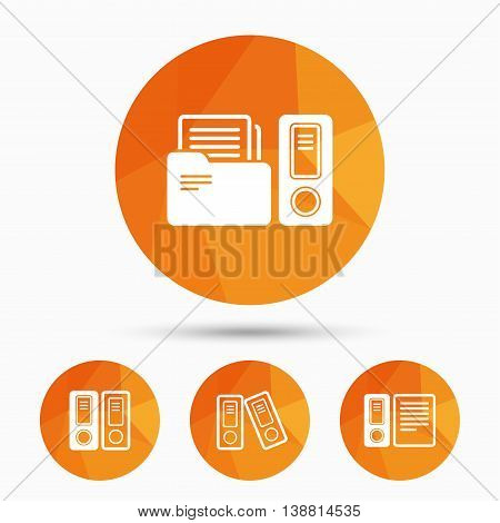 Accounting icons. Document storage in folders sign symbols. Triangular low poly buttons with shadow. Vector