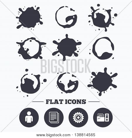 Paint, coffee or milk splash blots. Accounting workflow icons. Human silhouette, cogwheel gear and documents folders signs symbols. Smudges splashes drops. Vector