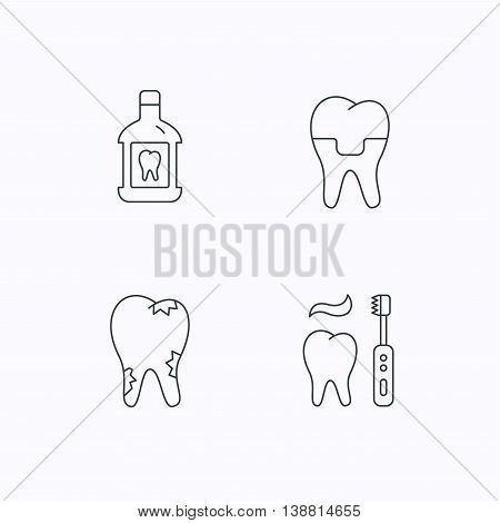 Caries, dental crown and mouthwash icons. Brushing teeth linear sign. Flat linear icons on white background. Vector