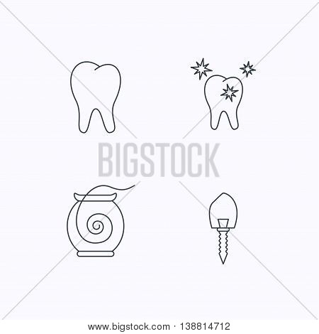 Tooth, healthy teeth and dental implant icons. Dental floss linear sign. Flat linear icons on white background. Vector